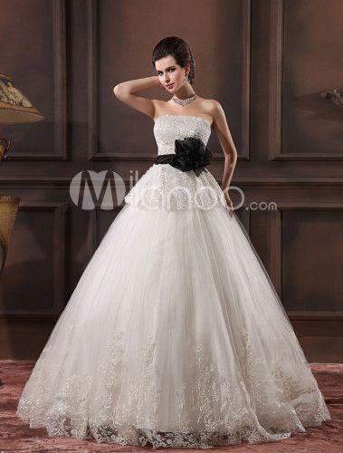 White Strapless Applique Lace Bridal Wedding Gown Milanoo Com