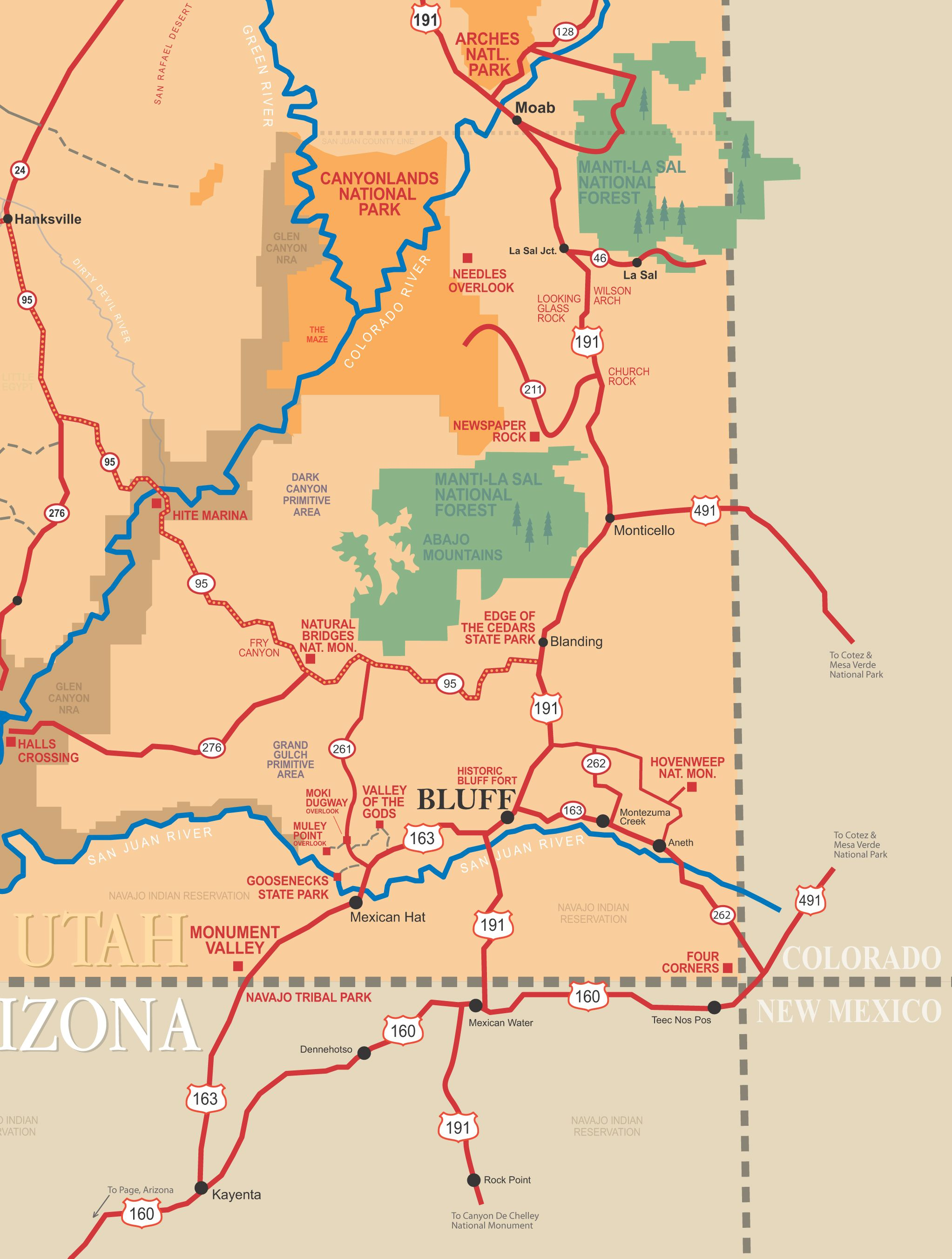 Bluff Utah Map county trip Pinterest Utah and Road trips