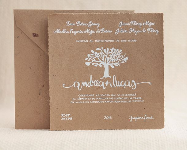 Invitación En Material Reciclado Invitaciones