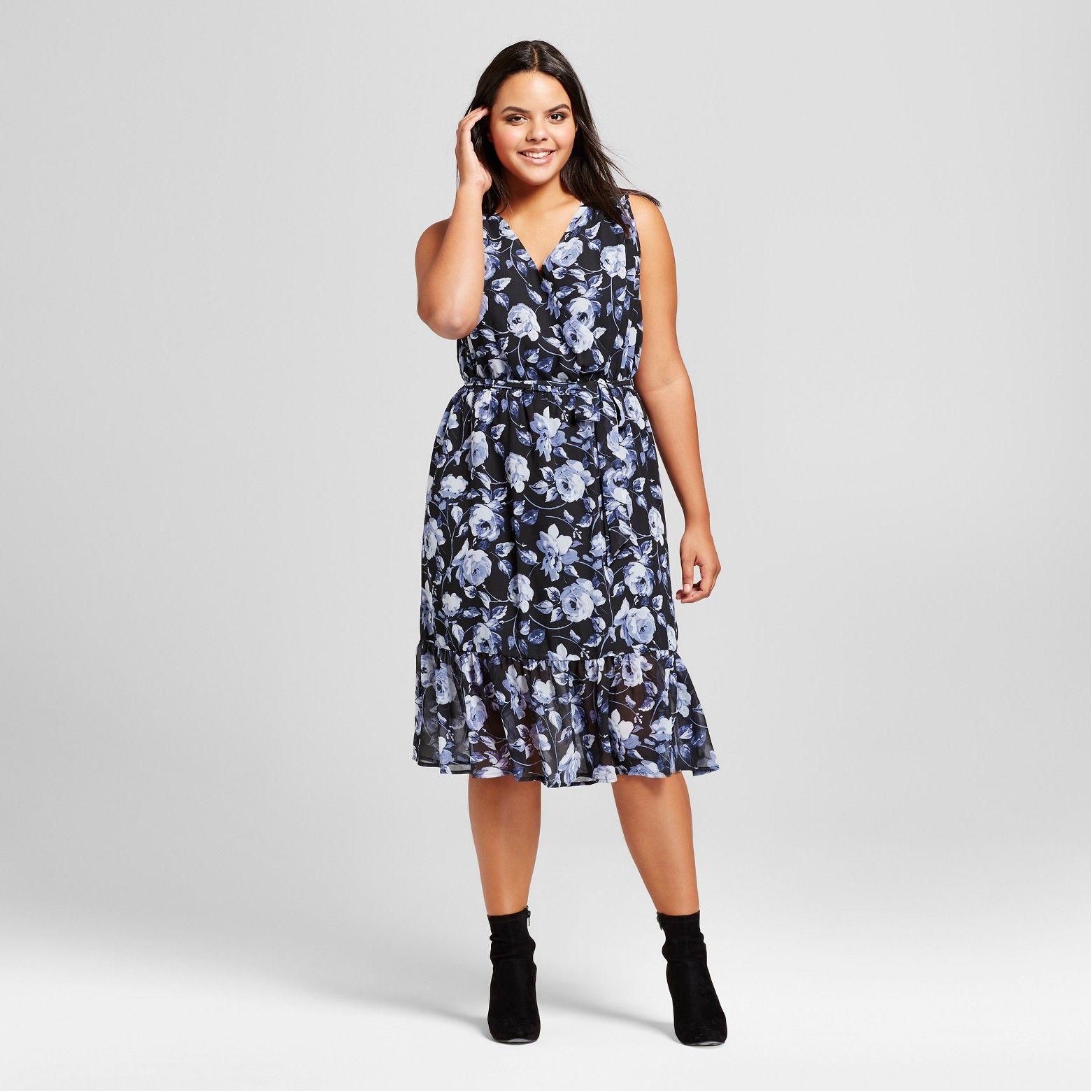 Women S Plus Size Floral Print Midi Dress A New Day Blue Target Floral Print Midi Dress Dresses Midi Dress [ 1560 x 1560 Pixel ]