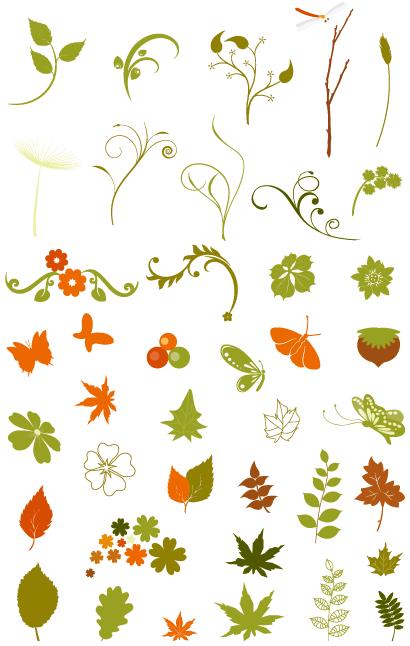 おしゃれな秋の花草イラスト飾り62個 無料ベクター 草 イラスト 秋
