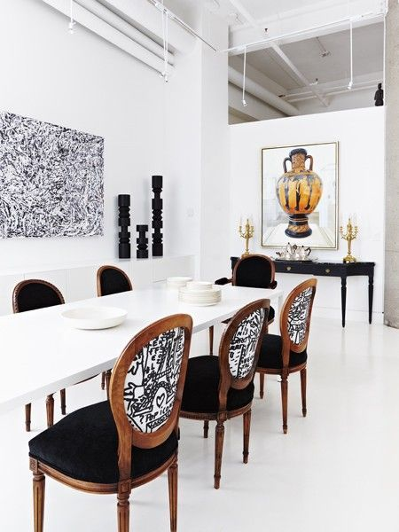 Awesome Style Collision; Love The Traditional Chairs With B+w Abstract Fabric · White  Dining RoomsLiving ...