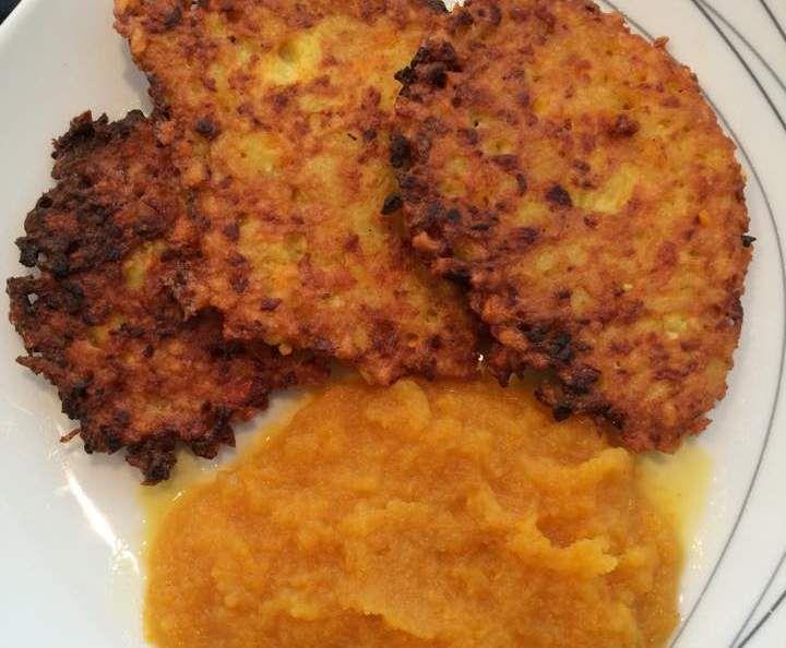 Rezept herbstliche Kartoffelpuffer mit Kürbis dazu Apfel-Kürbismus, Kürbispuffer…