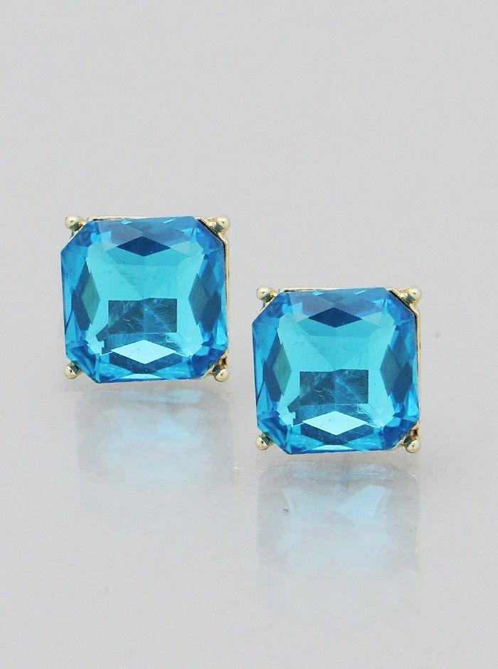 "Aqua Blue Square Crystal Stud Gold Tone Fashion Jewelry Women Earrings 1/2"" #DazzledByJewels #Stud #Aqua #Crystal #GoldTone #Earrings #FashionJewelry"