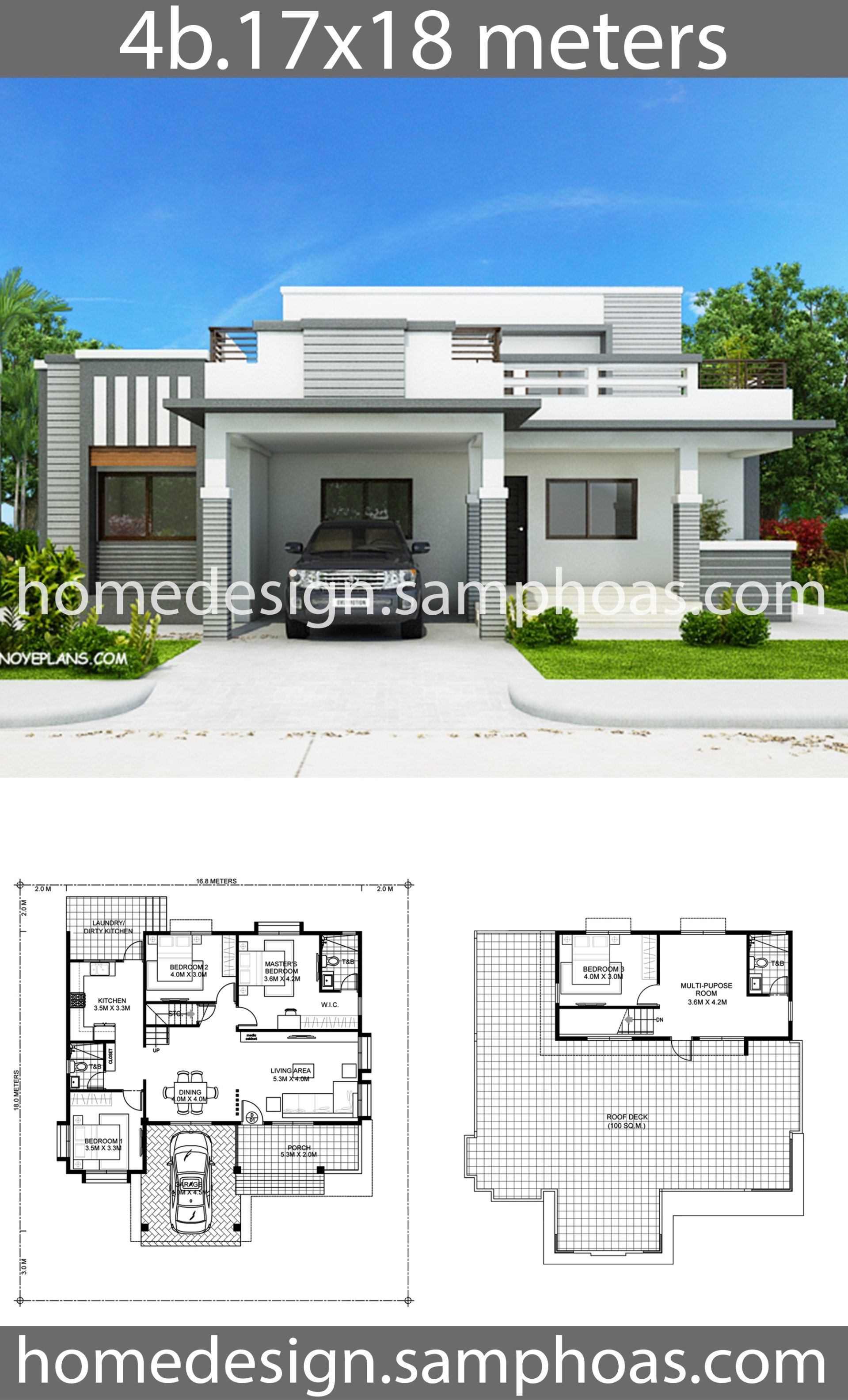 House Plans 17x18m With 4 Bedrooms Home Ideas Modern Bungalow House House Construction Plan Modern House Plans