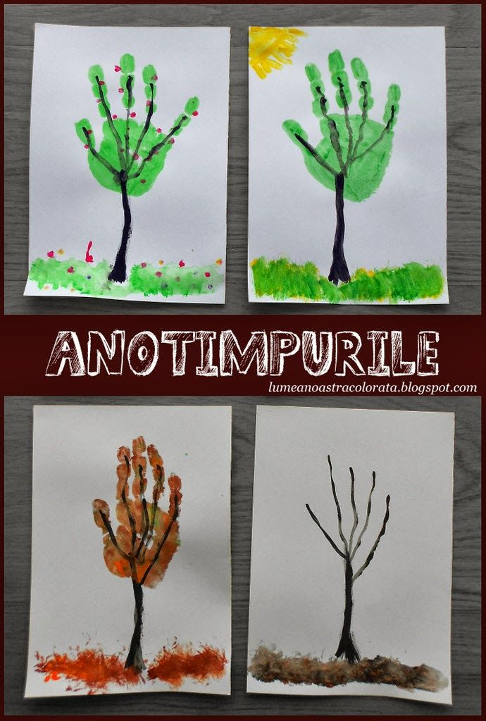 Kids Calendar Art Ideas : Anotimpurile fours seasons hand print trees for kids