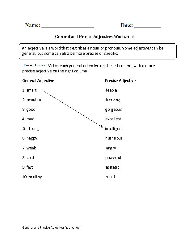 General and Precise Adjectives Worksheet Education – Adjectives Worksheet