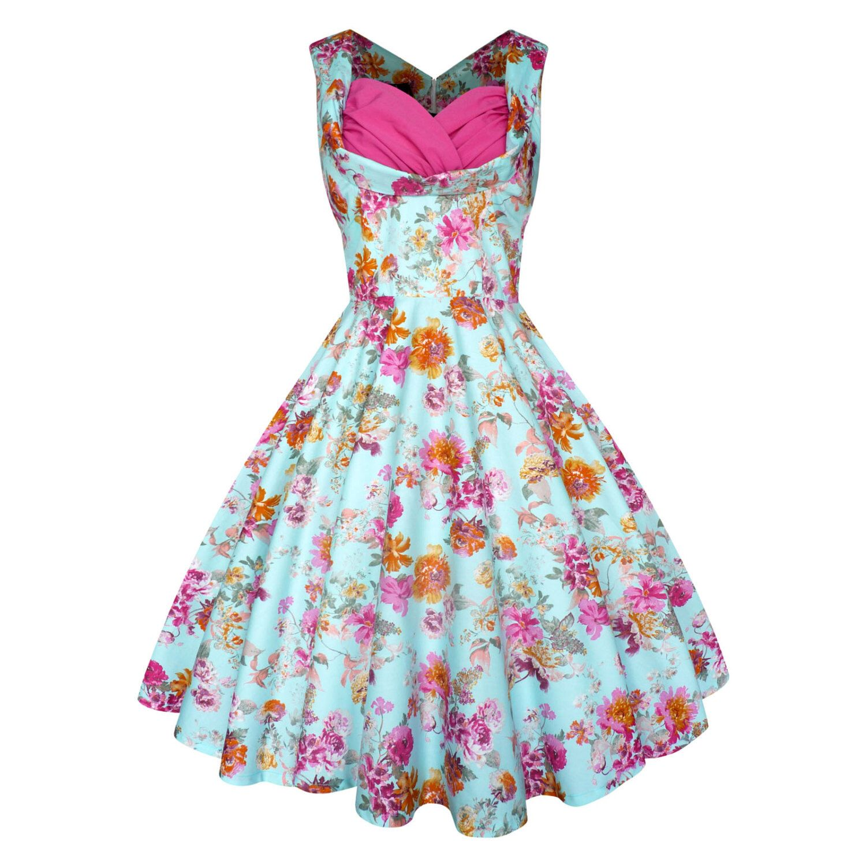 Lady Mayra Elsa Vintage Floral Dress Rockabilly Clothing Pin Up