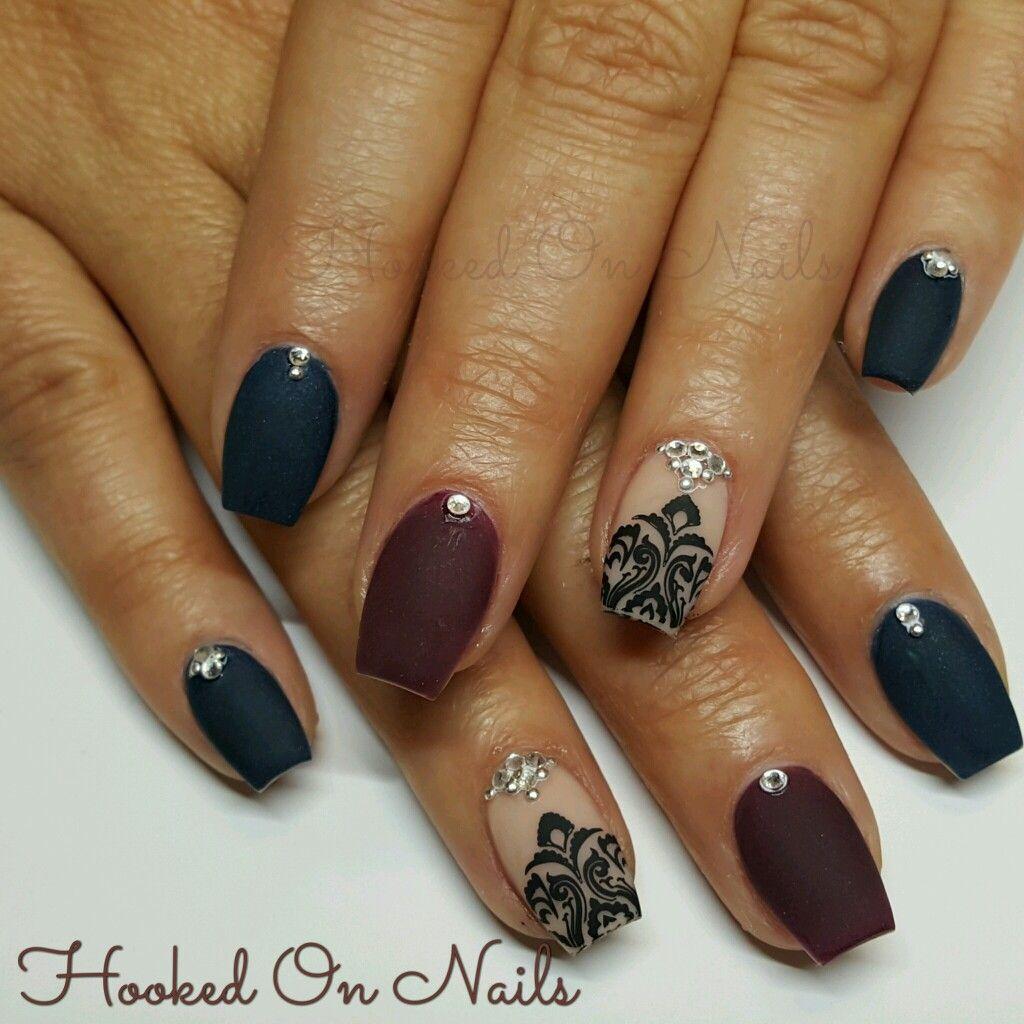 Matte nails, mini coffin nail shape, swarovski crystals, marron ...