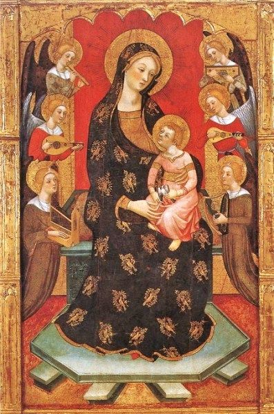 Pere Serra (Gothic-Italian style painter, active in Catalonia in 1357-1406) Madonna with Angels Playing Music ca 1390