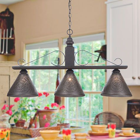 BAR ISLAND LIGHT Large Wood & Wrought Iron Fixture with Punched ...