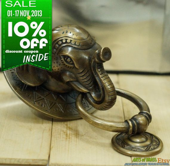 SALE 1-17 Nov - 10% - Antique Large BIG ELEPHANT Thai Head Door Knocker by  ArtsofBrass, $ 69.99 / set will be : $62.99. - Antique Large BIG ELEPHANT Thai Head Door Knocker Cast Solid Brass