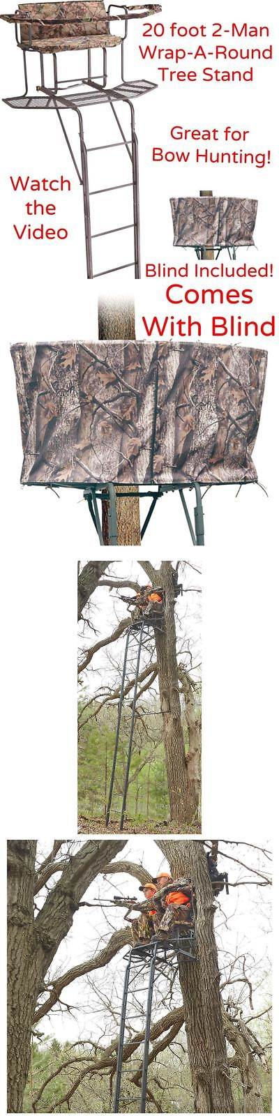 Tree Stands 52508 Xl 20 2 Man Wrap A Round Double Rail Ladder Tree Stand With Blind Deer Hunting Buy It Now Only With Images Tree Stand Deer Stand Deer Hunting Blinds