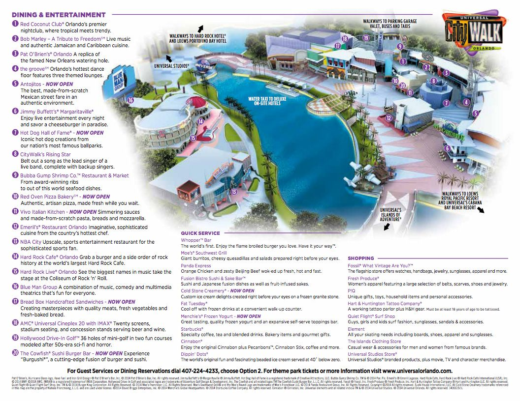 Universal Orlando Citywalk Map 2016 Universal Orlando Theme Park Map Orlando Travel