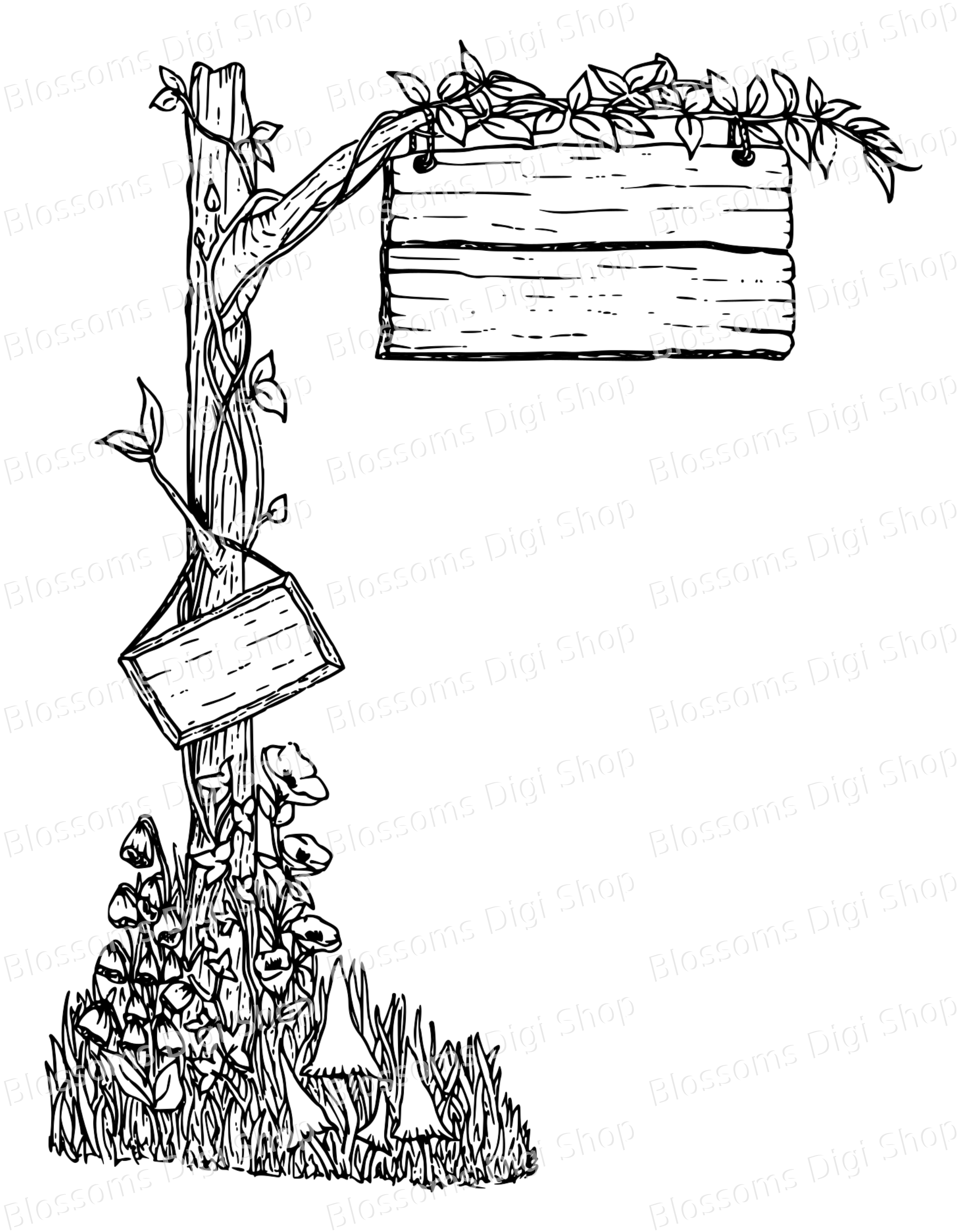 Fairy signpost, digital download, fairy digi stamp, hand