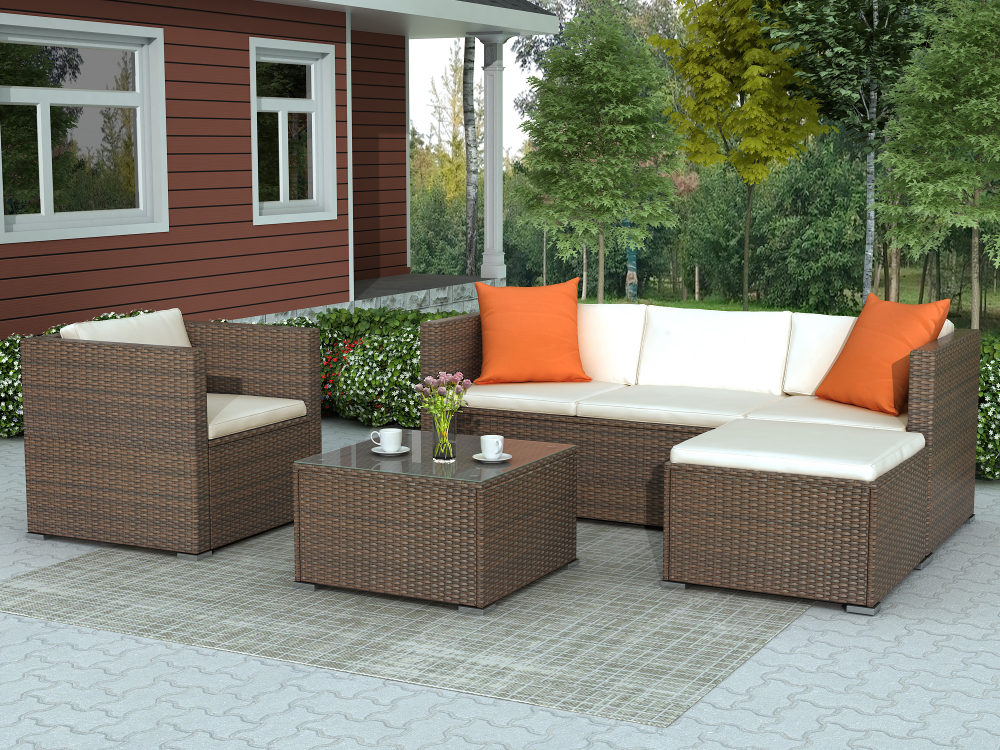 Rattan Patio Furniture Sofa Set, Patio Furniture Set