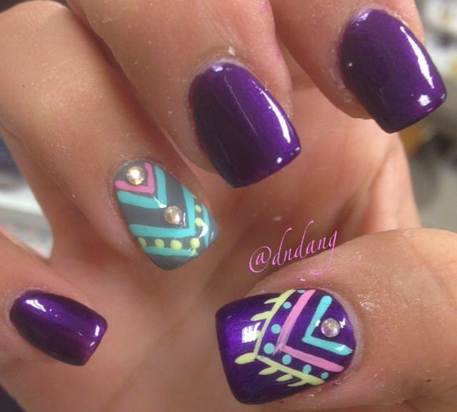 Cute Purple Blue And Silver Tribal Nail Design Nails Pinterest