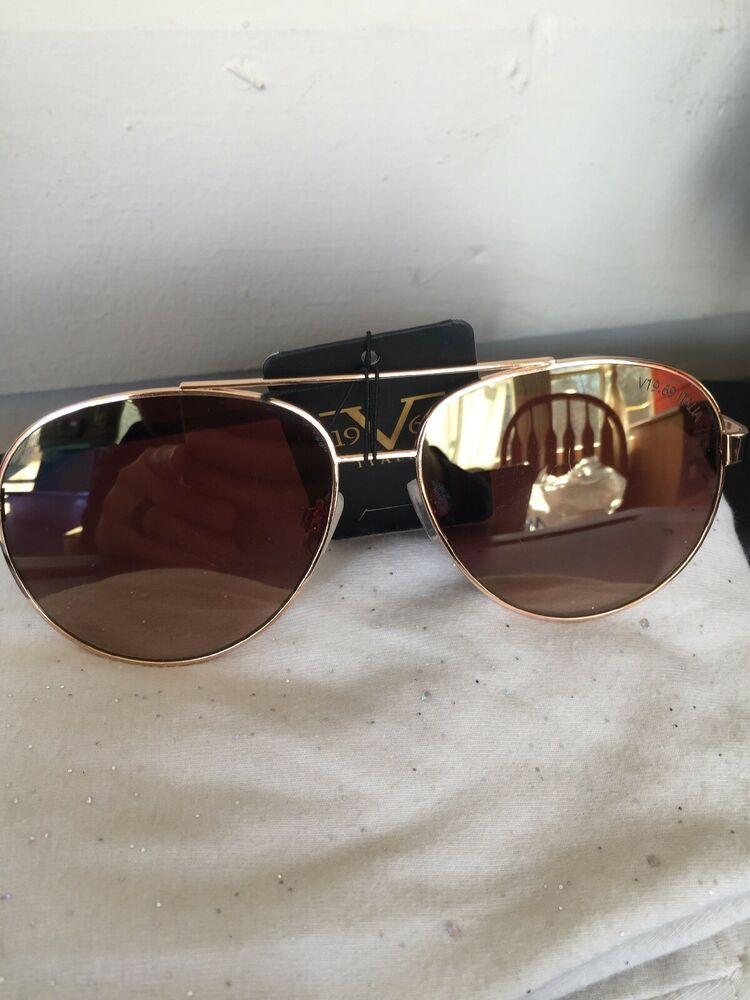 683e3fab7e95 19V69 Italian Versace 1969 GLD Evelina Gold/Brown Aviator Sunglasses NWT |  eBay