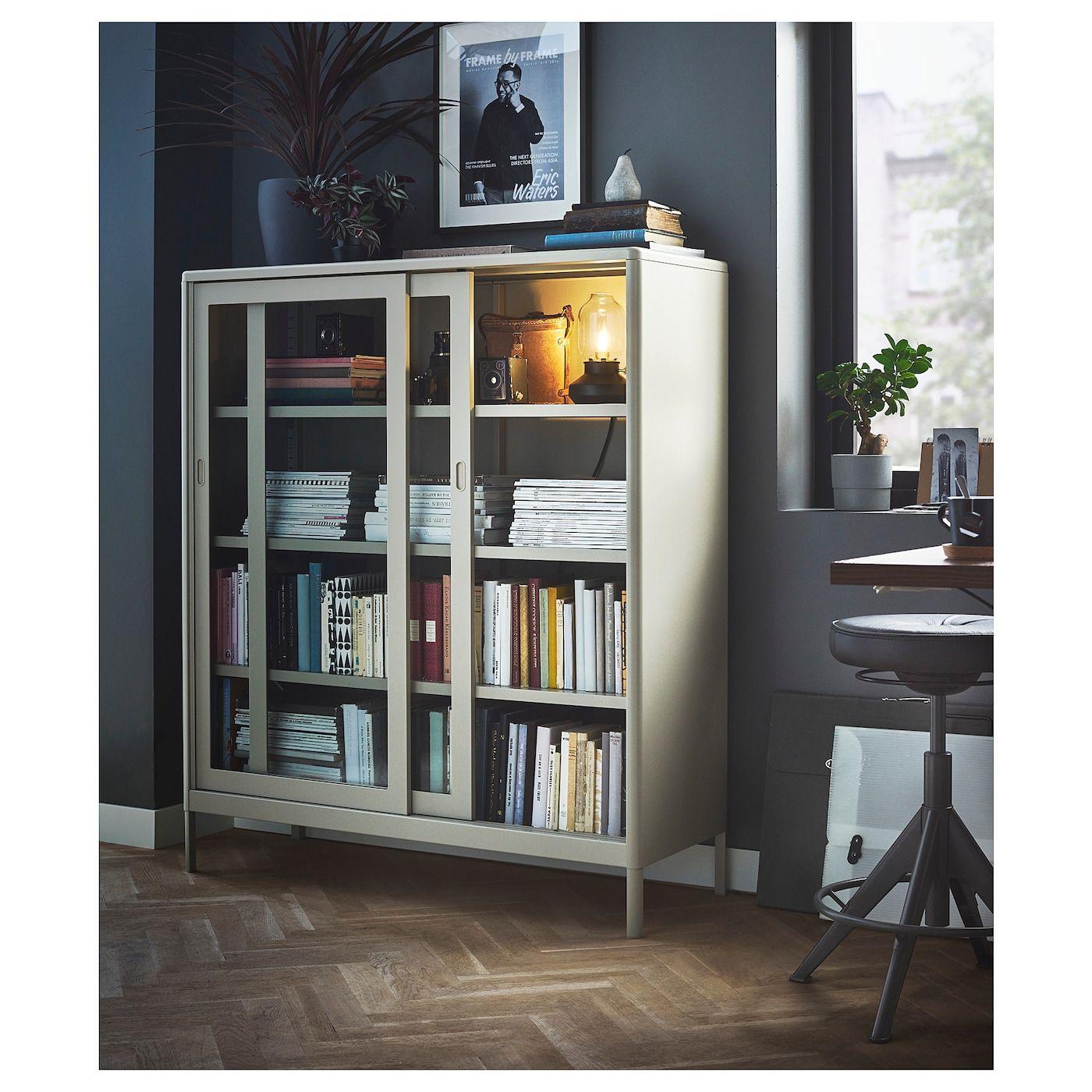 Photo of IDÅSEN Cabinet with sliding glass doors – beige – IKEA