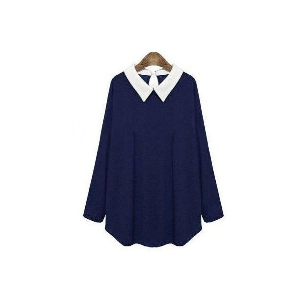 Navy Plus Size Top With Contrast Collar (€27) ❤ liked on Polyvore featuring tops, navy blue tops, navy tops, blue top, womens plus tops et dressy tops