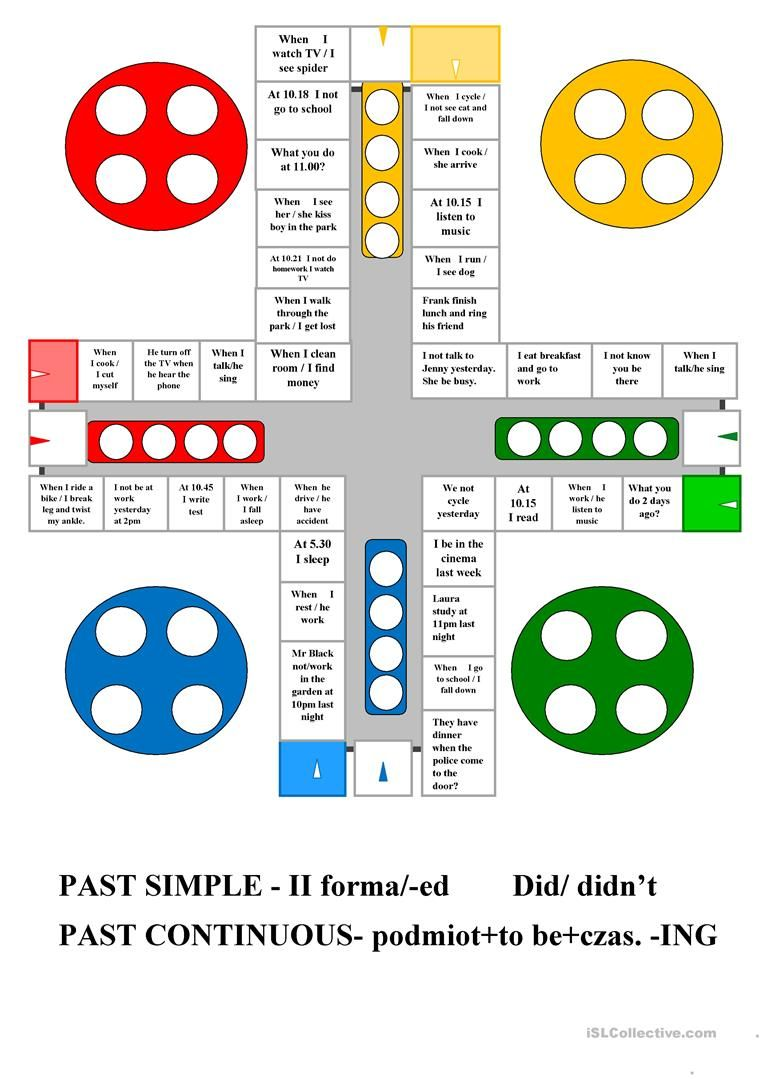 Ludo Past Simple & Past Continuous worksheet - Free ESL printable ...
