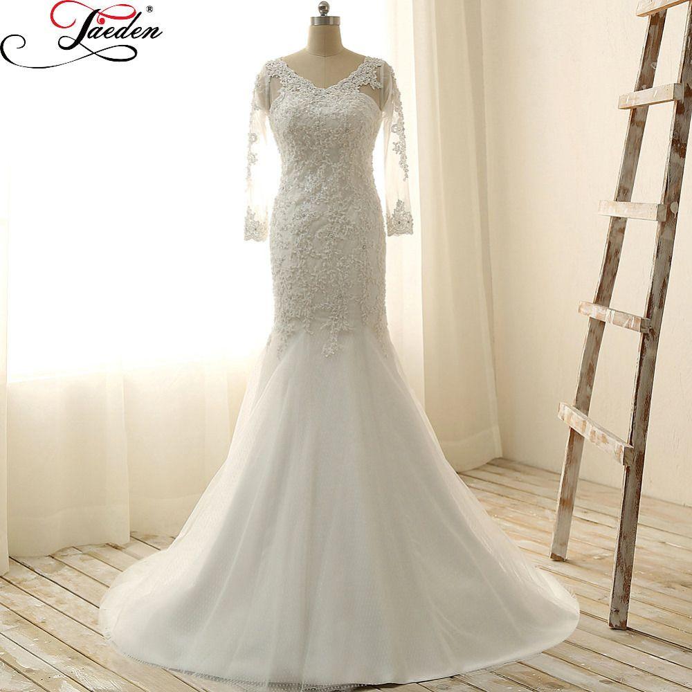 Click to buy ucuc jaeden pearls appliques wedding dress v neck