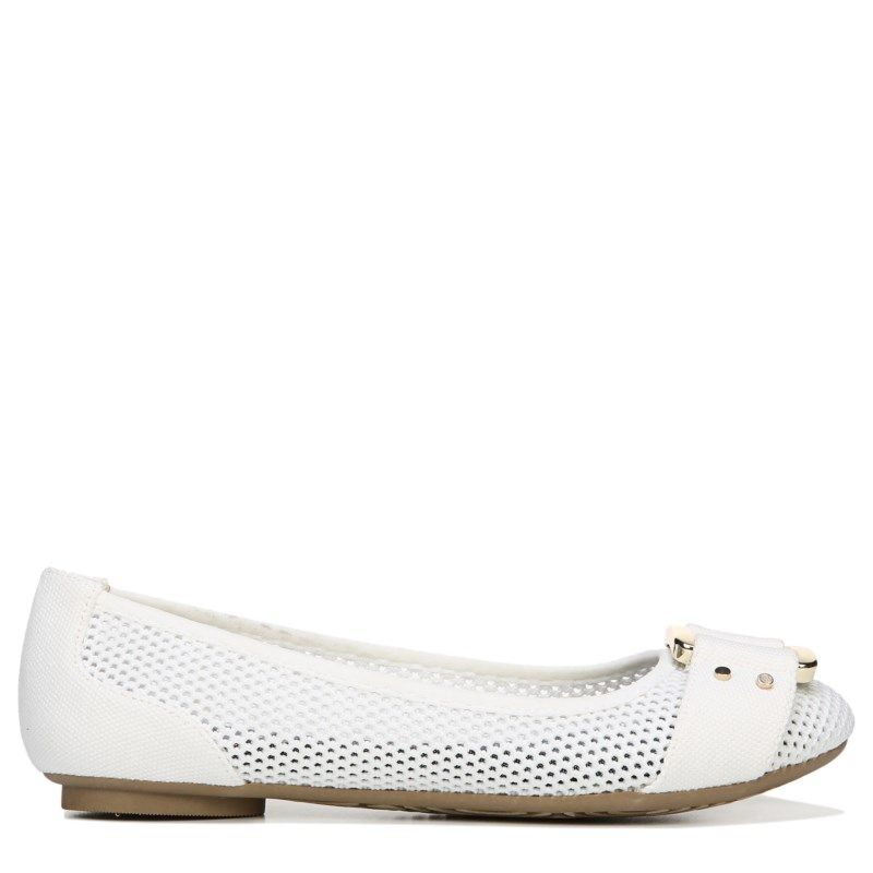 Dr. Scholl's Women's Frankie Mesh Memory Foam Flat Shoes (White Mesh)