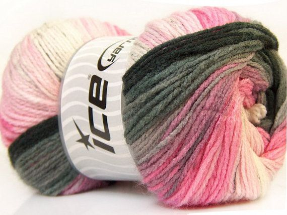 Ice Magic licht garen 22026 zwart roze wit en door GoodFiberYarns