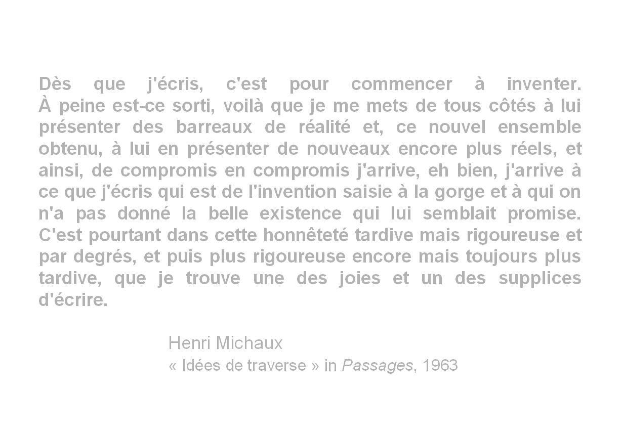 """Henri Michaux, """"Idées de traverse"""" in Passages, 1963"""