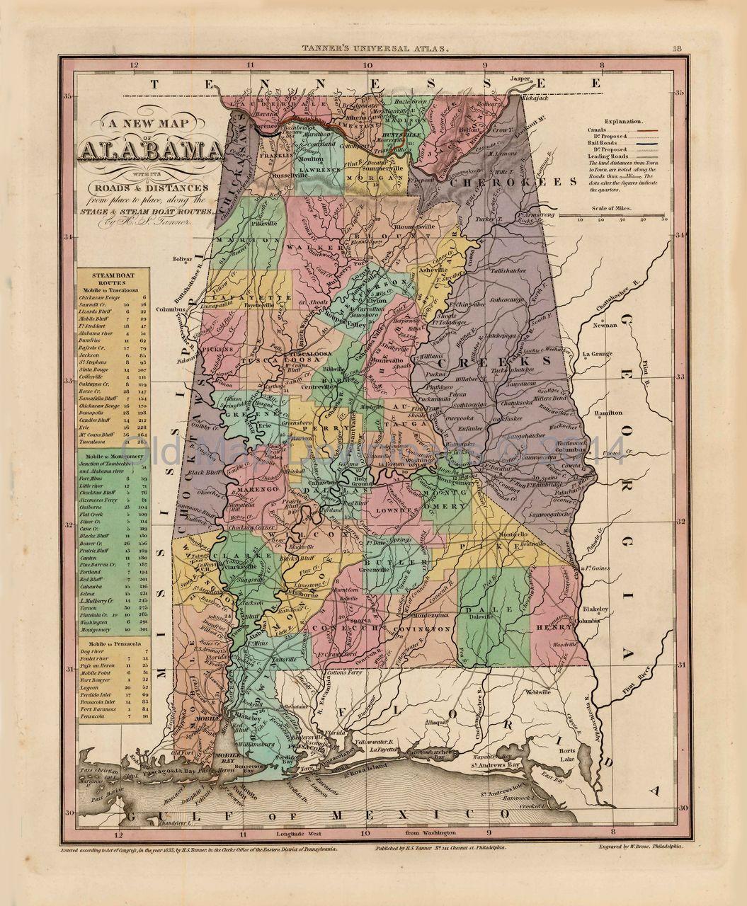 Alabama Old Map Tanner 1836 Digital Image Scan Download ...