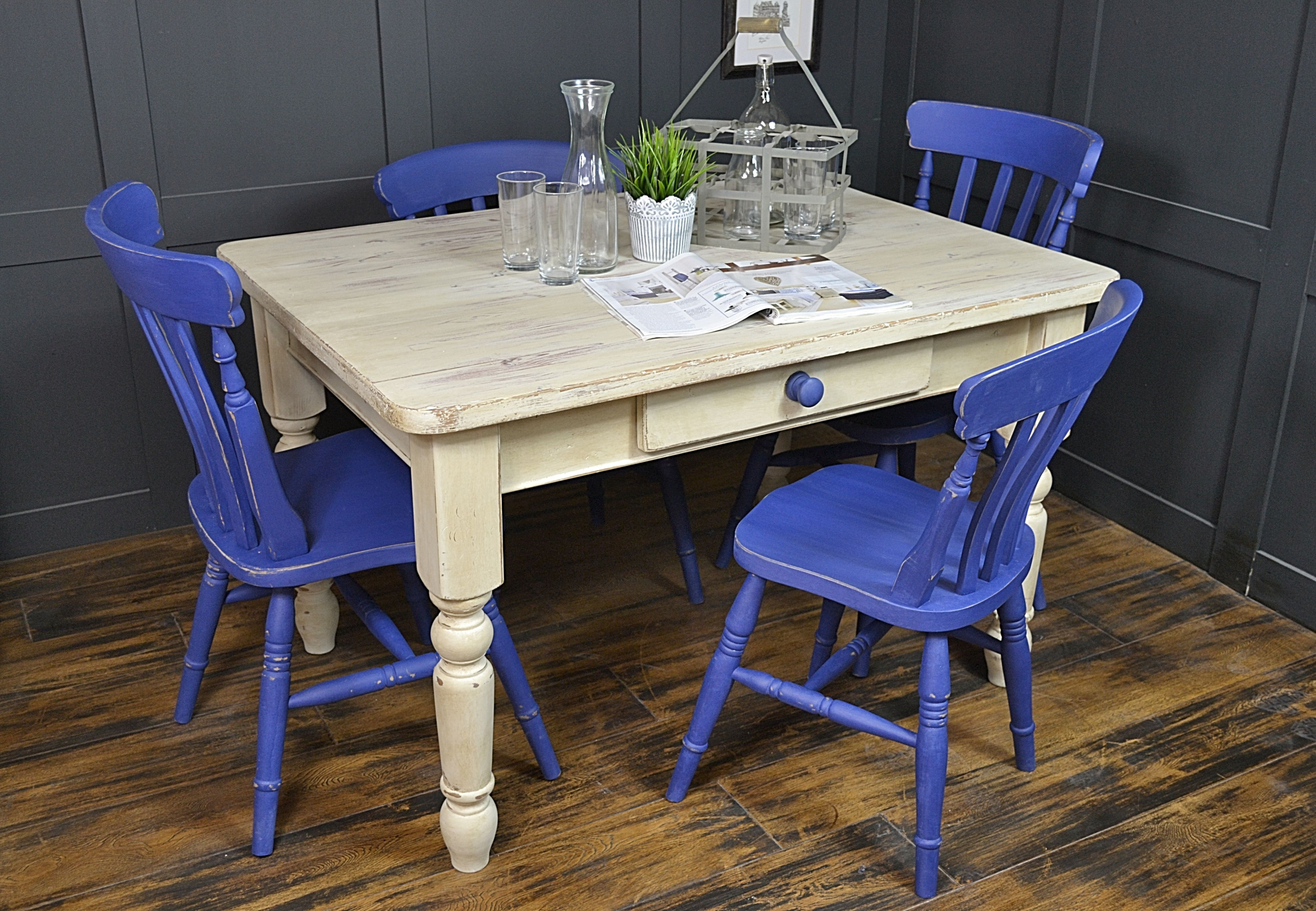 Inspired By The Coast, This Vibrant Farmhouse Dining Set Has Been Painted  In Annie Sloan
