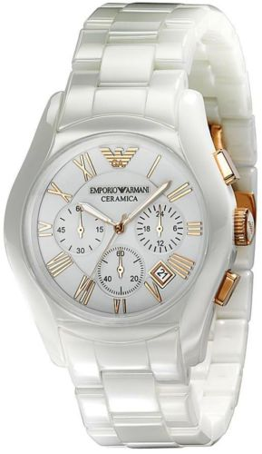 b79f4ec20030 Emporio Armani Gents AR1416 Ceremica Watch White Dial and Rose Gold ...