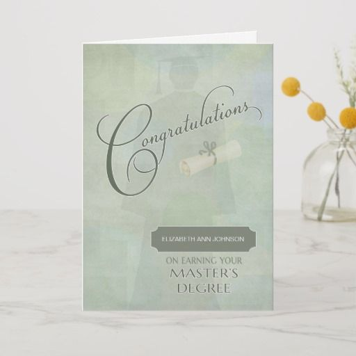 congratulations masters degree graduate wname card