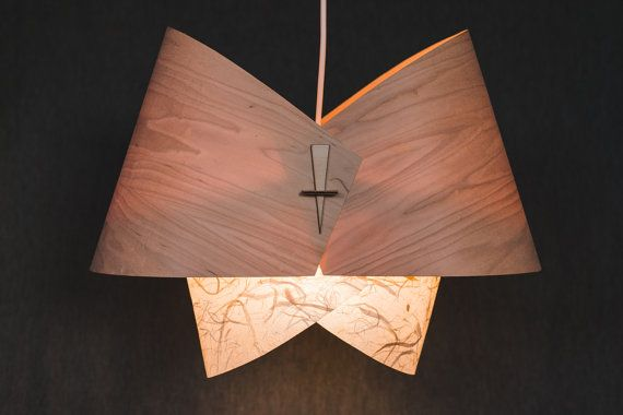 Wood Pendant Light Ceiling Light Fixture Wood Lamp Shade Modern Pendant  Light  The Bow With Bark Infused Paper