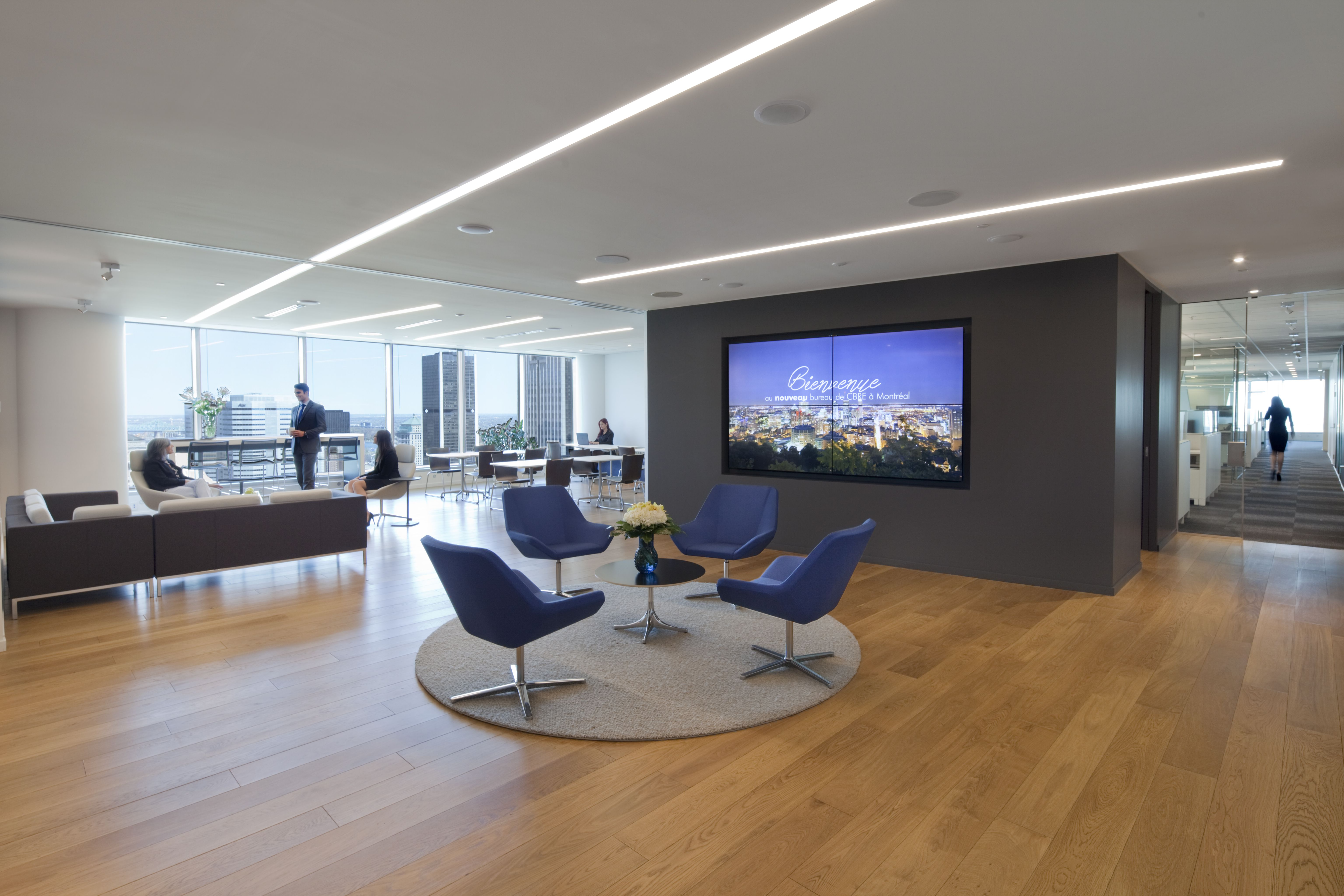 Cava recessed set in a waiting area lobby cbre montreal