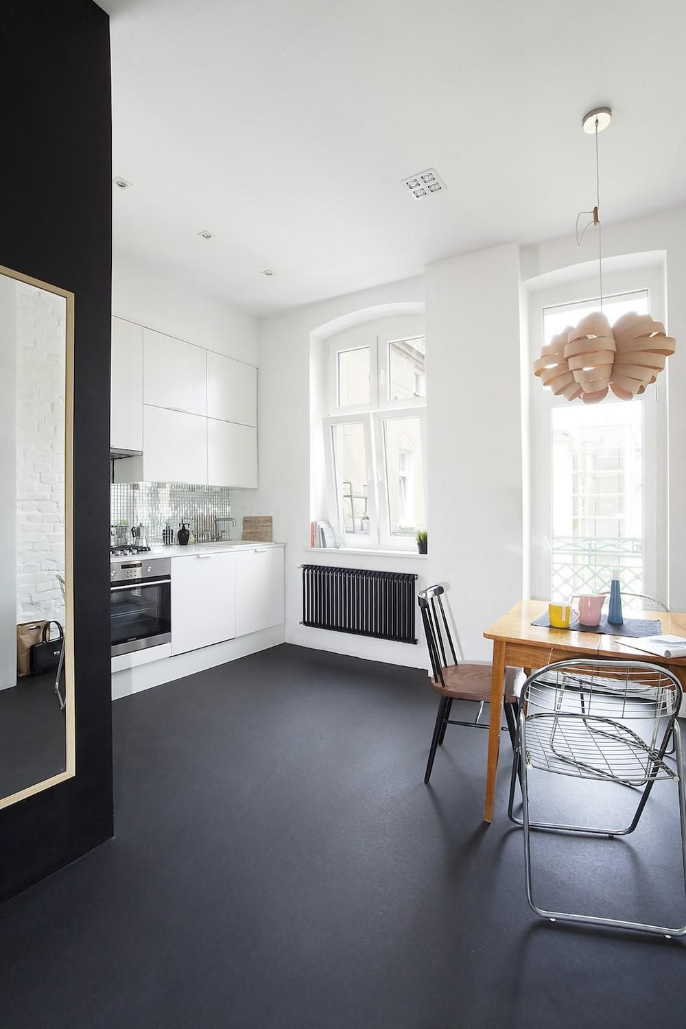 Black Painted Concrete Floor For A White Kitchen I D Like My Garage To Be This