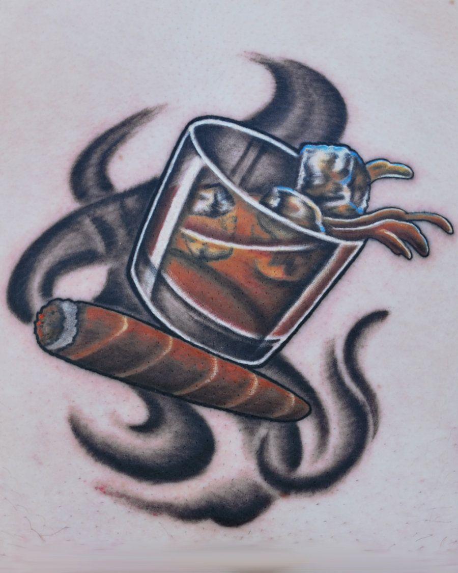 Whiskey and cigar. Pure pleasure... Living art tattoo