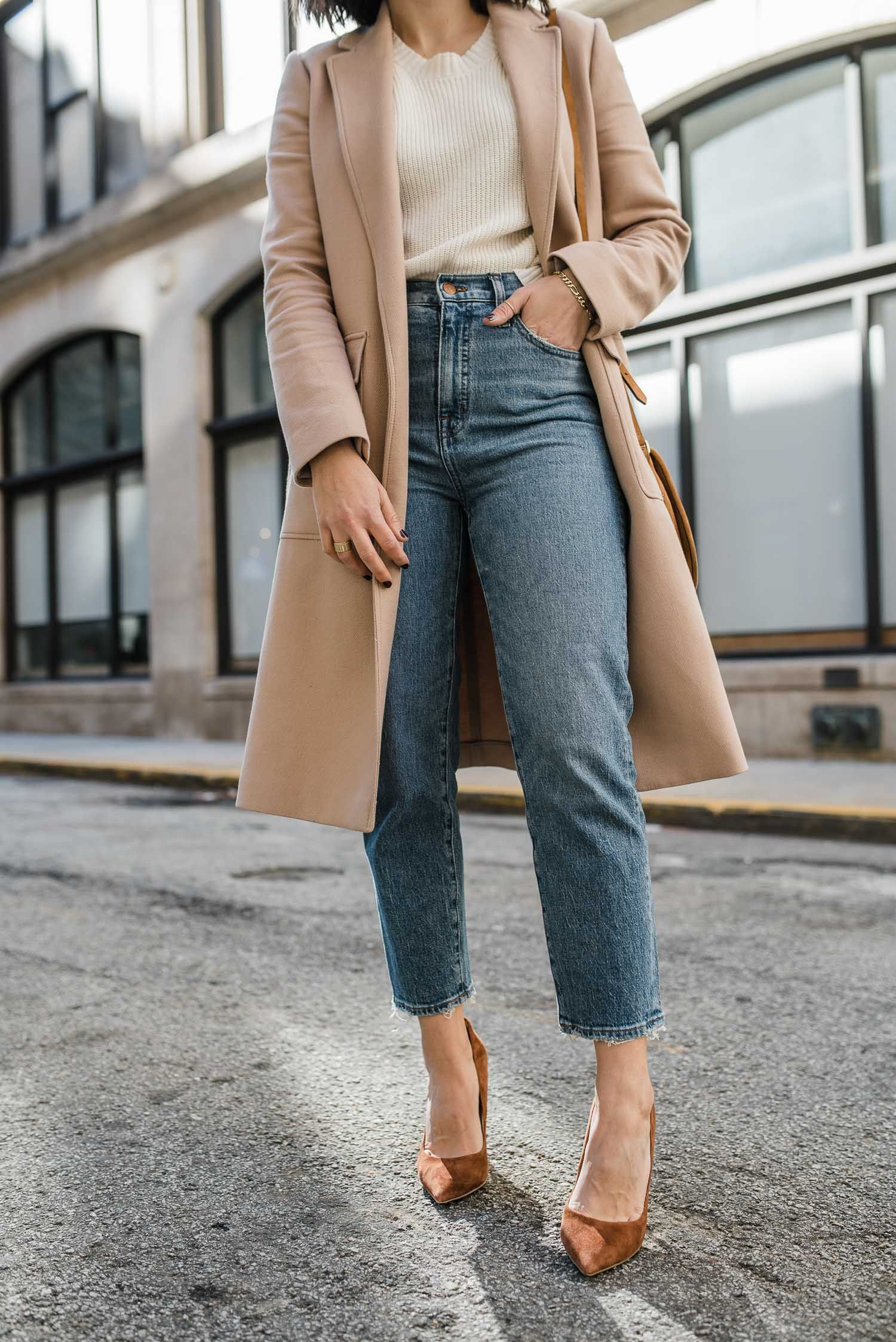 Neutral outfit ideas for winter, how to style camel coats. #camelcoat #fashion #ootd