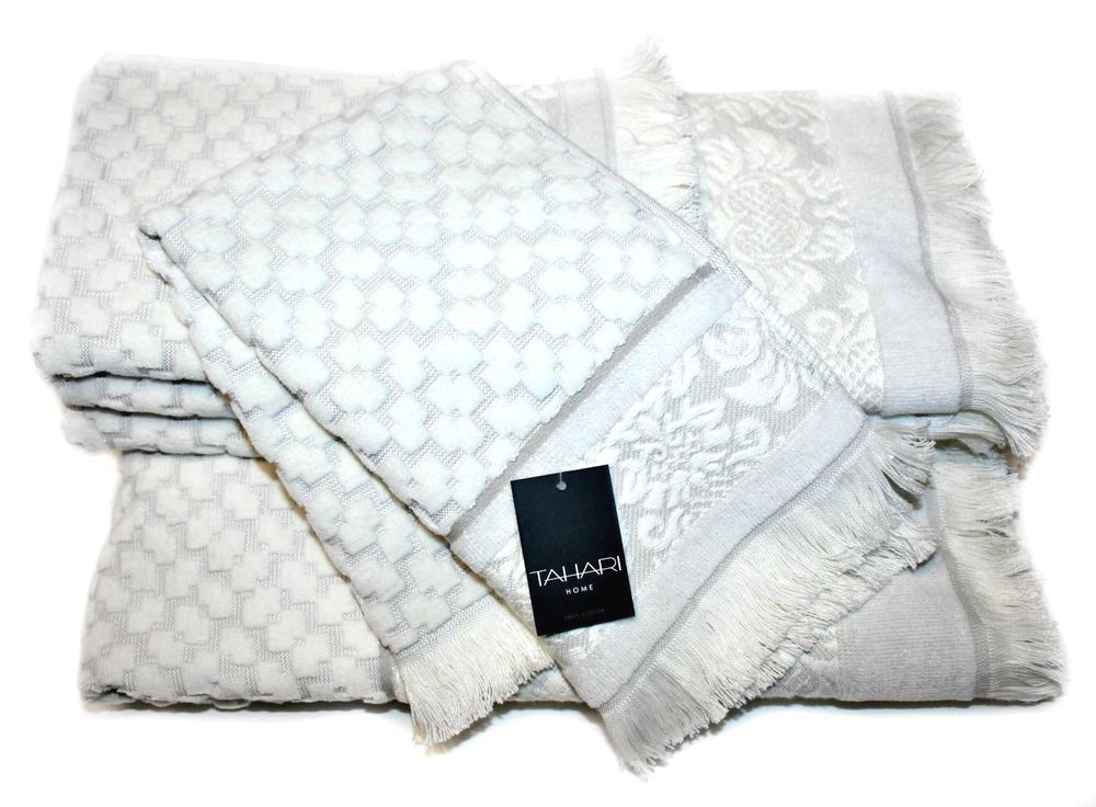 Tahari Home Set Of Towels 5pcs, White-off/Very Light Grey #Tahari
