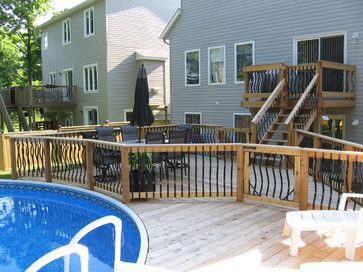 2 Level Deck Design Ideas Pictures Remodel And Decor Above Ground Pool Decks Decks Backyard In Ground Pools