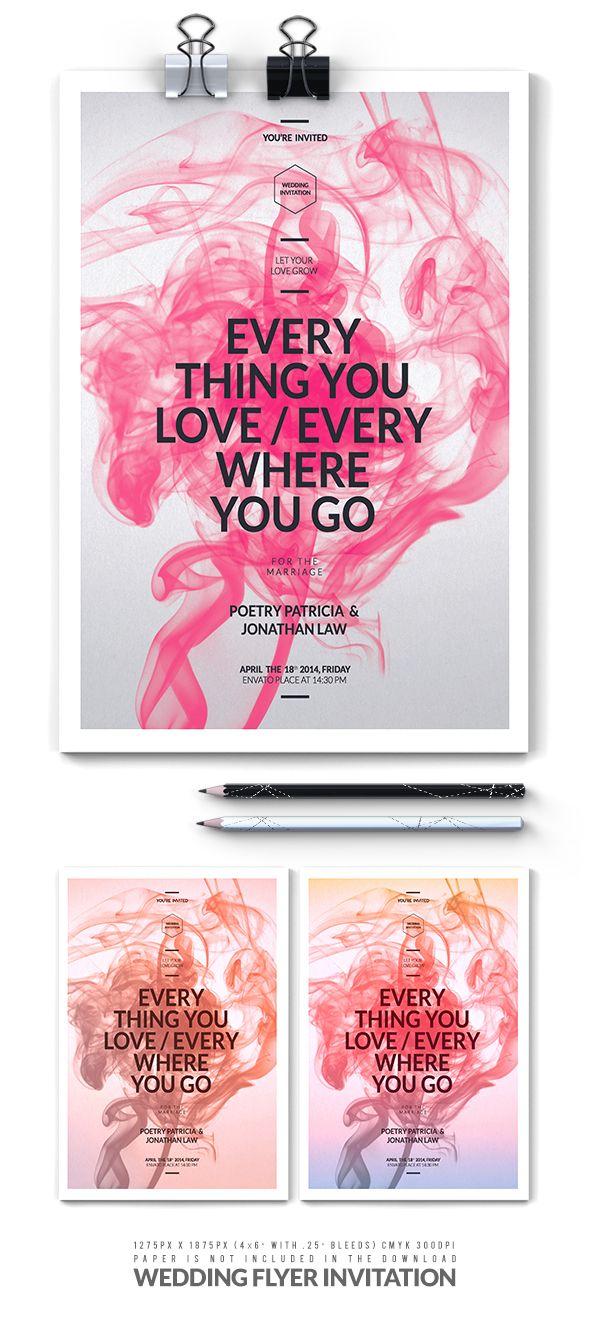 Wedding Flyer Invitation by falten studio, via Behance Graphic - wedding flyer
