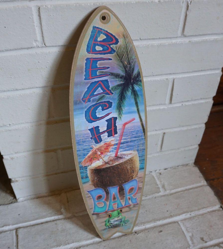 BEACH BAR SURFBOARD SIGN Palm Tree Cantina Tiki Coconut Umbrella Drink Decor NEW #Tropical