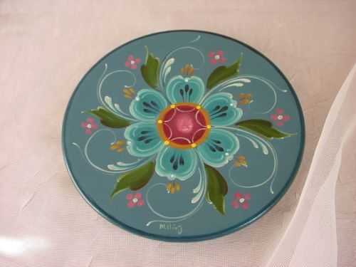 Hand Painted Norwegian Wooden Plate Wall Decor Rosemaling by Millie J Blue