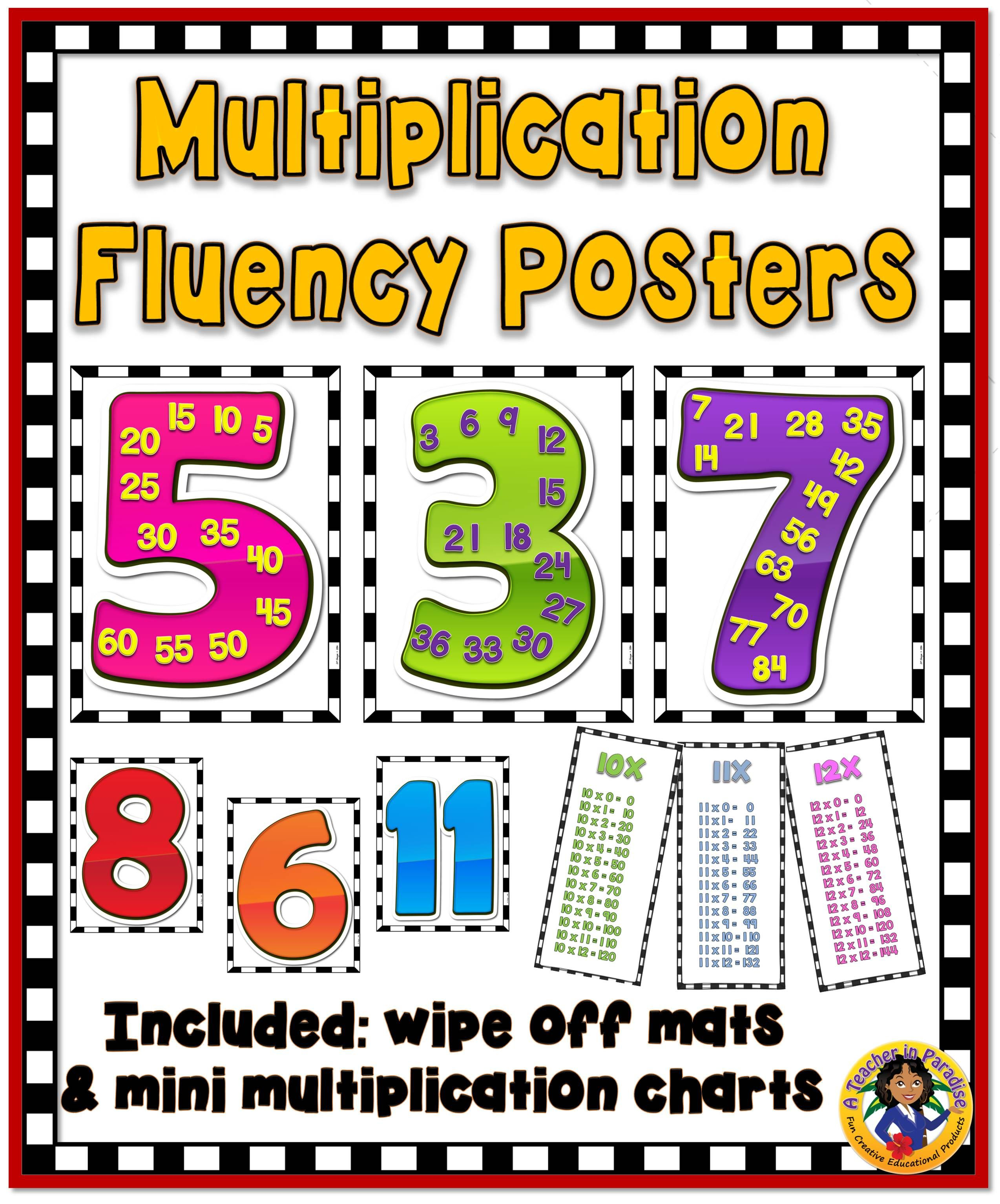 Multiplication Fluency Poster Set Brights Multiplication Fluency Multiplication Fluency Posters