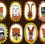 Woodland Cameos fabric by andrea_lauren, click to purchase