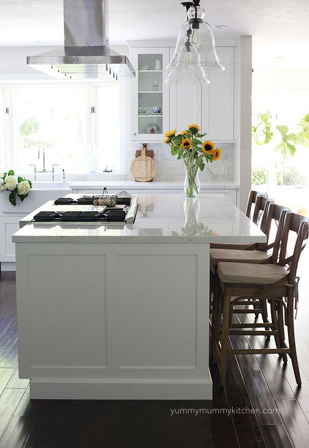 Beautiful White Marble Kitchen Remodel | Yummy mummy, Kitchens and on gas range hood ideas, island lighting ideas, island range hoods design kitchen, island kitchen design ideas,