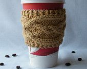 PATTERN - Knitted Coffee Cup Sleeve Pattern, Tea Cup Cozy Pattern, His & Hers Cup Cozy Pattern, Cup Cozy Pattern, Cabled Knitting Pattern