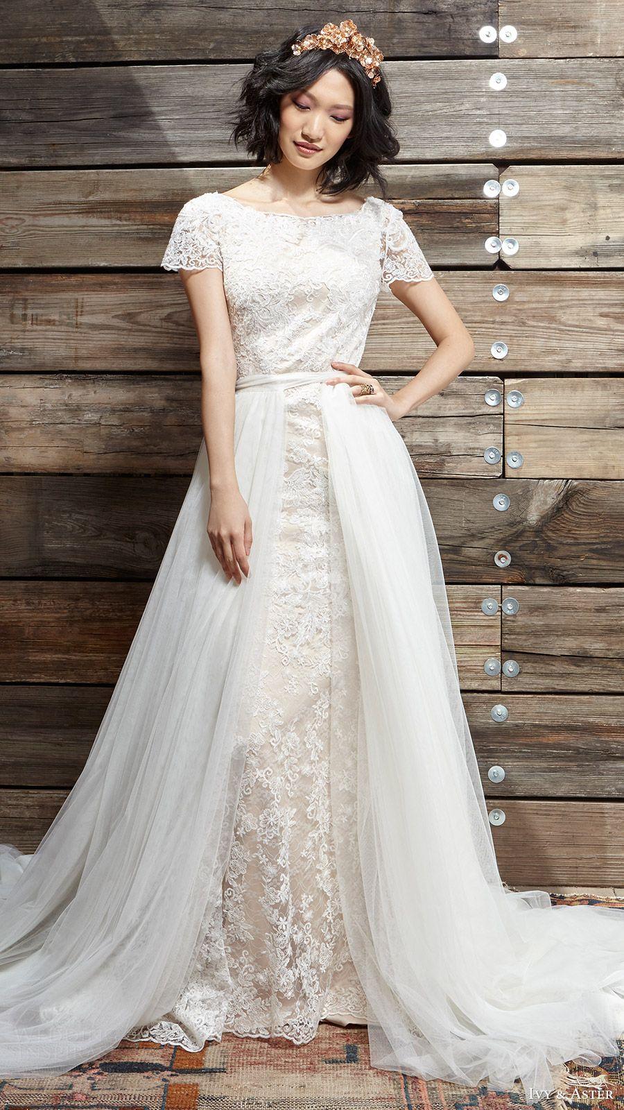 a4f598b21cf9 ivy aster bridal spring 2017 cap sleeves jewel neck lace wedding dress  (sylvia vera overskirt) mv scoop back