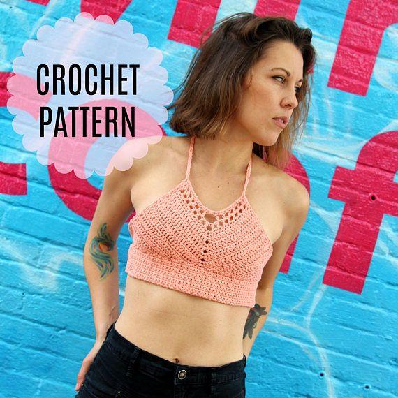Womens Crochet Crop Top Pattern // Ladies Crochet Bralette Pattern ...