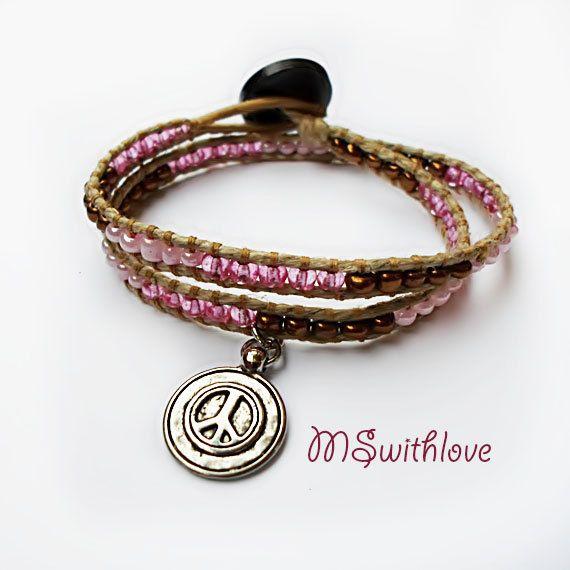 Charm wrap bracelet peace charm boho wrap bracelet by MSwithlove $9